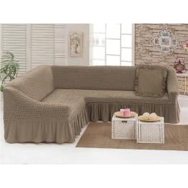Чехлы: Диван угловой + декоративная подушка какао (5)  198037 Угловой диван + декоративная подушка