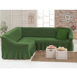 Чехлы: Диван угловой + декоративная подушка олива (24)  198040 Угловой диван + декоративная подушка