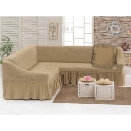 Чехлы: Диван угловой + декоративная подушка песок (33)  198042 Угловой диван