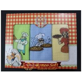 Набор вафельных кухонных полотенец Romeo Soft Chef 3 шт (40*60)