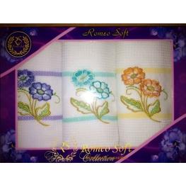 Набор вафельных кухонных полотенец Romeo Soft Flower Collection 3 шт (45*70)